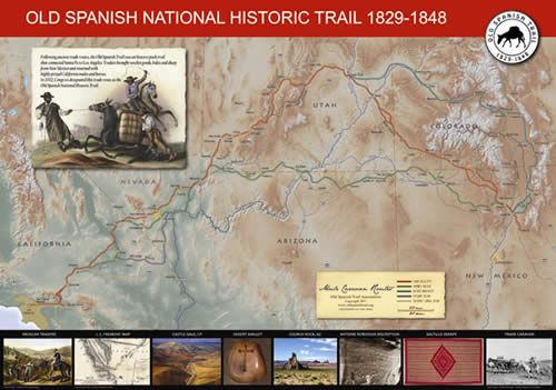 Old Spanish Trail Map Poster